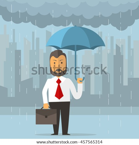 Businessman holding an umbrella. Business protecting and saving for any storm problem will come. Man standing in rain on big city background. Vector - stock vector