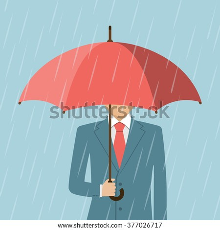 Businessman holding an umbrella. Man standing in rain. Heavy rain, rain, storm. Modern man a stylish suit with elegant umbrella. Vector Illustration