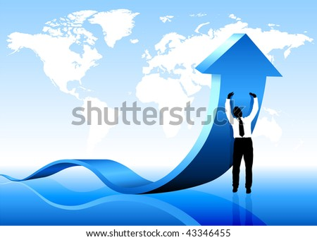 Businessman holding arrow with World Map Background - stock vector