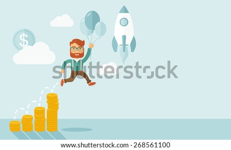 Businessman holding balloons fly high with coin graph that shows increase in sales. Start up business concept. A Contemporary style with pastel palette, soft blue tinted background with desaturated - stock vector