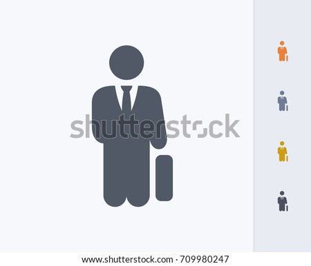 Businessman Holding Briefcase - Carbon Icons. A professional, pixel-aligned icon.