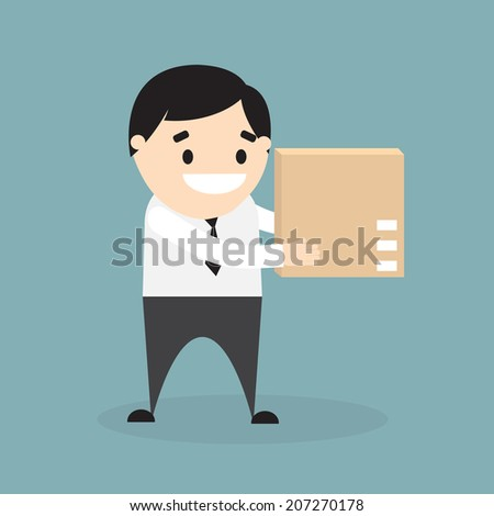 Businessman holding brown carton box isolated on blue background. Vector illustration. Flat design - stock vector