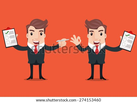 businessman holding checklist board and pen for business concept design - stock vector