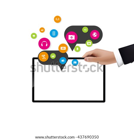 Businessman holding digital tablet, isolated with cloud computing elements.
