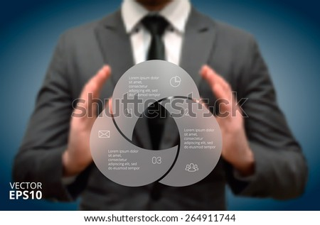 Businessman holding elements of infographics. Circle line infographic. Business concept with 3 options, parts, steps or processes. Linear graphic. Blur vector background. - stock vector