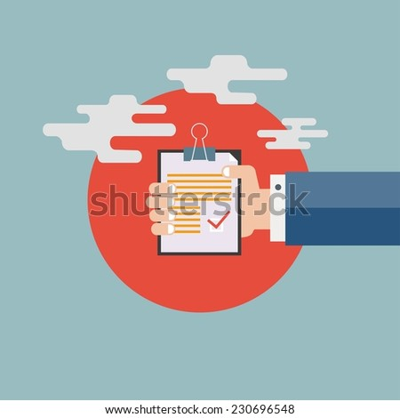 Businessman holding evaluation card - stock vector