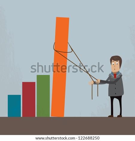 businessman  holding garph - stock vector