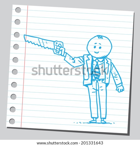 Businessman holding handsaw
