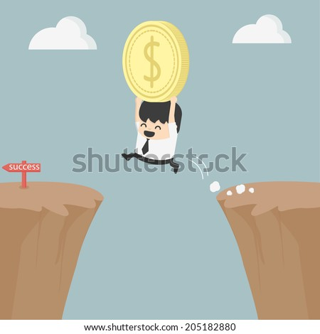 Businessman holding money jumping over the cliff - stock vector