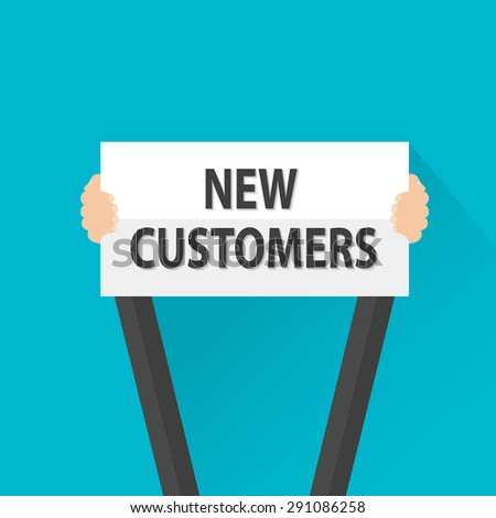 Businessman holding new customers sign, vector - stock vector