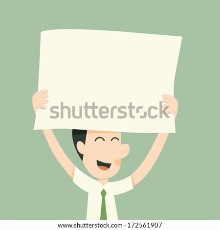 businessman holding paper and smile