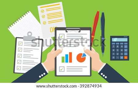 Businessman holding paper sheet in hands, paperwork, consultant, financial audit, financial research report, auditing tax process, data analysis, CEO analytics, market stats calculate in vector - stock vector