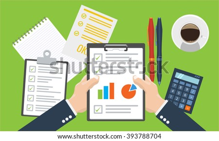 Businessman holding paper sheet in hands, paperwork, consultant, financial audit, financial research report, auditing tax process, data analysis,CEO, analytics, market stats calculate in vector - stock vector