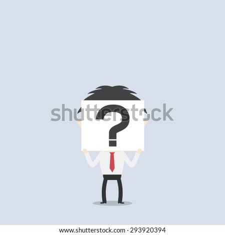 Businessman holding paper show question mark - stock vector