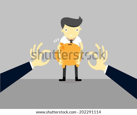 Businessman, holding piggy bank, looking scared trying to protect his savings from being stolen.Vector,illustrator - stock vector