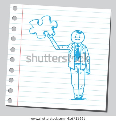 Businessman holding puzzle piece