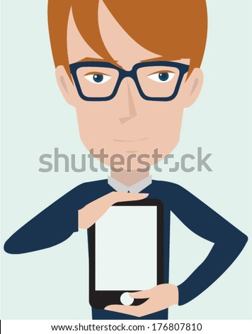Businessman holding tablet computer - stock vector