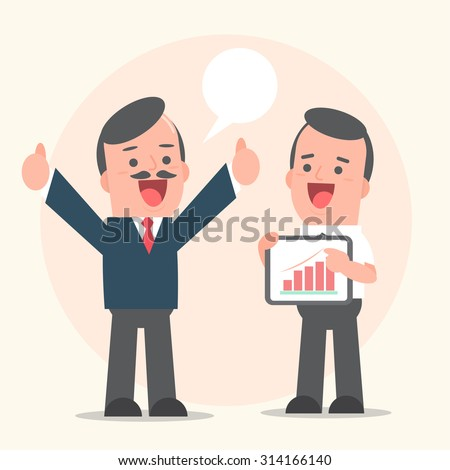 Businessman holding tablet presentation successful to manager - vector illustration - stock vector