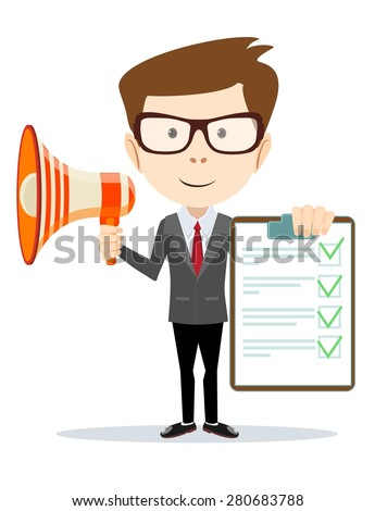 Businessman holding the document approved and talking into a megaphone - Isolated on white background.Stock Vector illustration. - stock vector