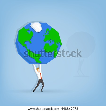 businessman holding the planet (cartoon design) Working hard Business concept