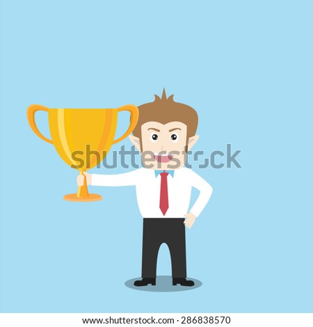 Businessman holding trophy - stock vector