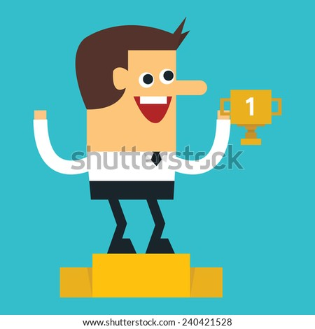 Businessman holding up winning trophy, Flat design, vector - stock vector