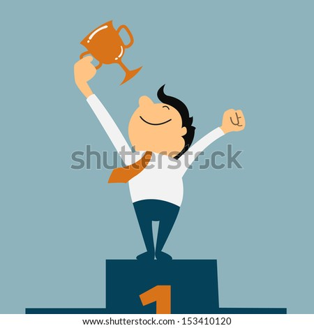 Businessman holding winning trophy. Victory concept. - stock vector