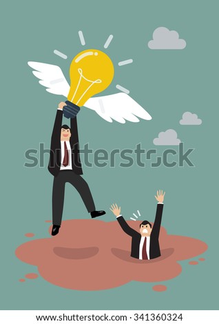 Businessman holds flying light bulb to get away from quicksand. Business concept - stock vector