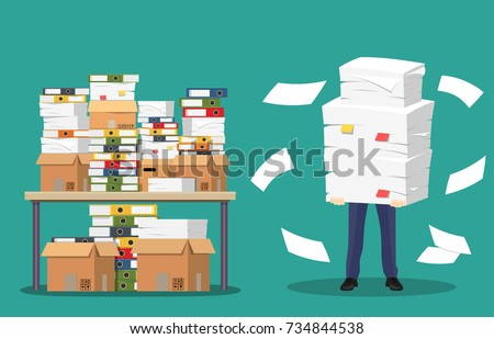 Businessman holds pile of office papers and documents. Documents and file folders on table. Routine, bureaucracy, big data, paperwork, office. Vector illustration in flat style
