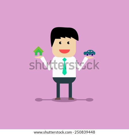 Businessman home and car - stock vector