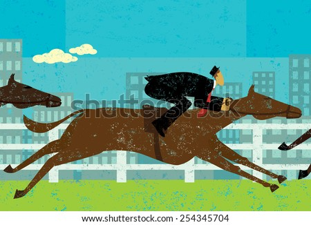 Businessman horse racing Businessman in a horse race to achieve his goal. The businessman and horses are on a separate labeled layer from the background. - stock vector