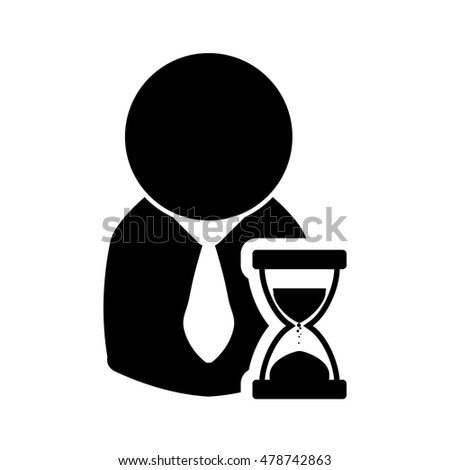 businessman hourglass pictogram necktie business financial item icon. Flat and Isolated design. Vector illustration