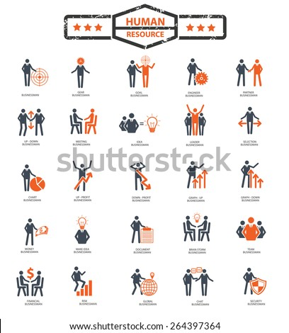 Businessman,Human resource icon set,orange version,clean vector - stock vector