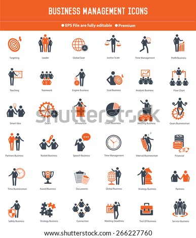 Businessman, Human resource icon set, orange version,clean vector - stock vector