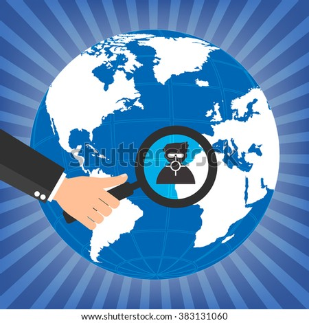 Businessman human resources hold a magnifying glass for choosing the right personal on globe for international best position.Vector illustration recruitment and job search concept. - stock vector