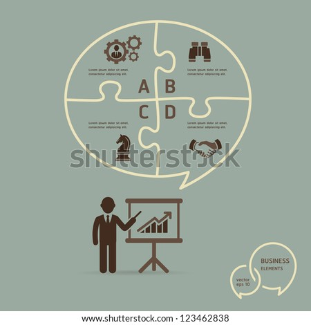 Businessman icons presentation with speech bubble puzzle options template. Retro stlye. Vector illustration - stock vector