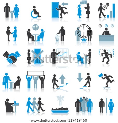 Businessman Icons. Vector Illustrations - stock vector