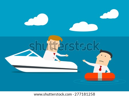 Businessman in a boat rescuing a businessman floating in a life buoy,  as a concept of cooperation big and little business - stock vector