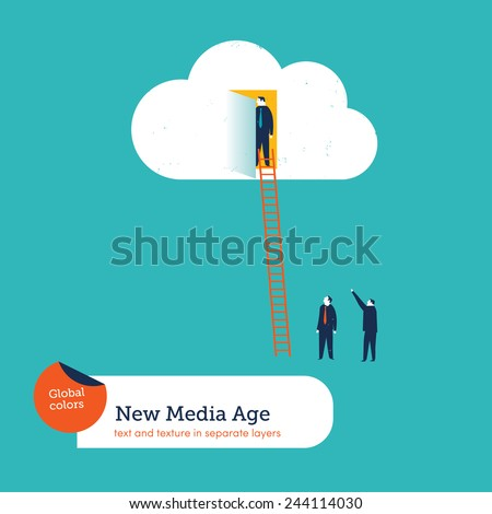 Businessman in a cloud others waiting. Vector illustration Eps10 file. Global colors. Text and Texture in separate layers. - stock vector