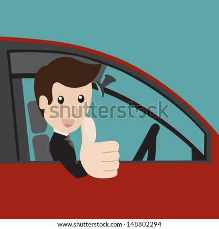 Businessman in a red car and thumbs up. Vector illustration - stock vector
