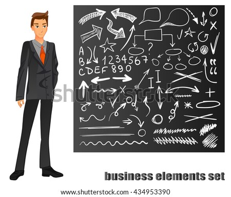 Businessman in a suit. Orange tie. Chalkboard with hand drawn business sketches. VECTOR eps 8 illustration   - stock vector