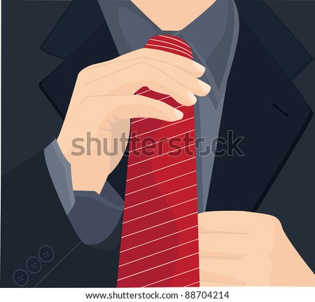 Businessman in a suit straightens his tie. Vector illustration. - stock vector