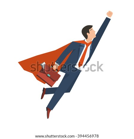 Businessman in a suit superhero flies up. Leadership and business growth concept. Flat design. Vector illustration. - stock vector