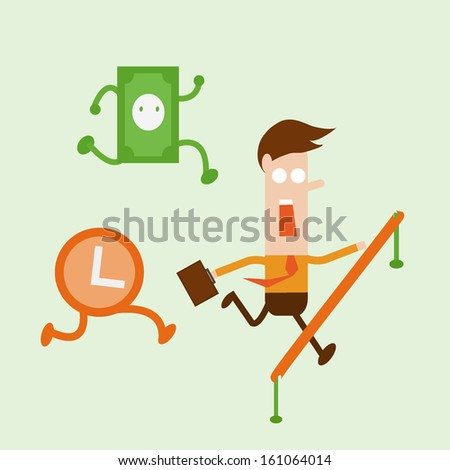 Businessman in a suit with a briefcase race with time and money - stock vector