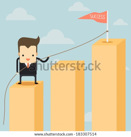 businessman in a yellow chart going up to success - stock vector