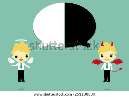 businessman in angel and devil form that thinking of white and black color on blue background.