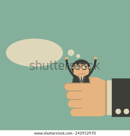 Businessman in big hand - stock vector