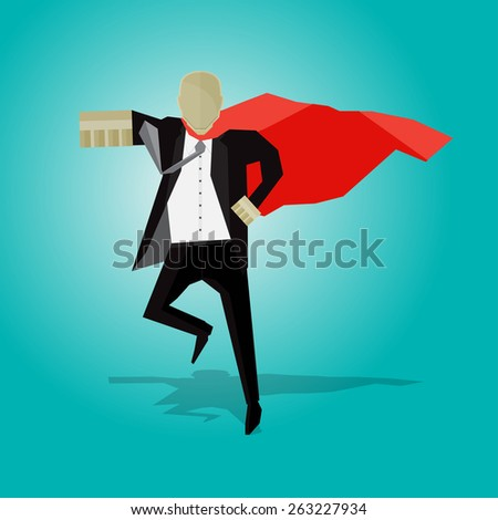 Businessman in black suit running, swinging his fists. - stock vector