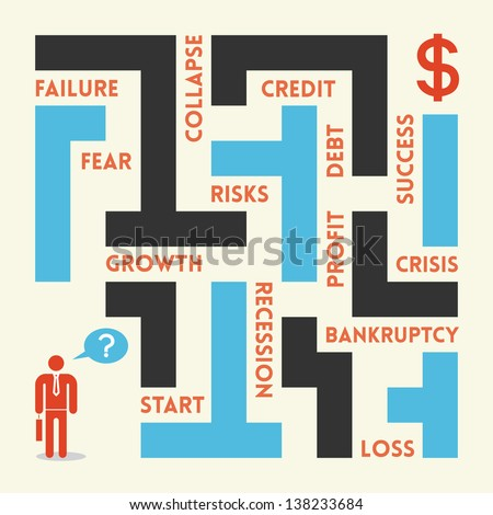Businessman in business labyrinth. There are a lot of traps in labyrinth - fear, failure, collapse, credit, debt, profit, risk, recession, loss, bankruptcy, loss, crisis, profit and success. - stock vector
