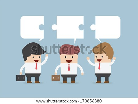 Businessman in conversation, Group of businessman with jigsaw  - stock vector